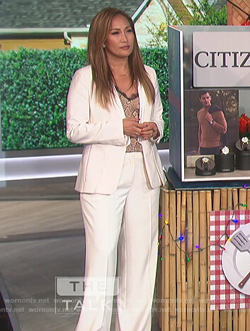 Carrie's snake skin cami and suit on The Talk