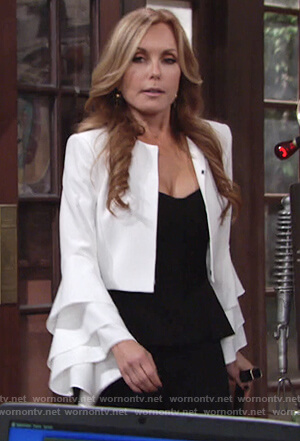 Lauren's white tiered sleeve jacket on Young and the Restless