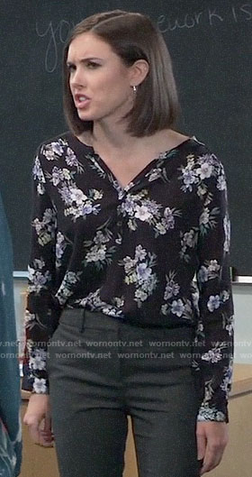 Willow's black floral blouse on General Hospital