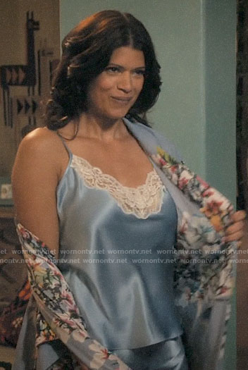 Xiomara's blue cami pajamas and floral robe on Jane the Virgin