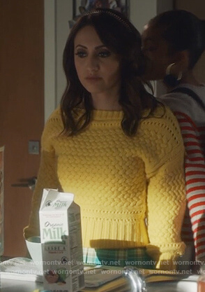 Ana's yellow chunky knit sweater and skirt on Grown-ish