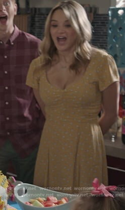 Clementine's yellow floral dress on Life in Pieces