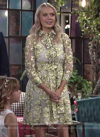 Abby's yellow floral sheer dress on The Young and the Restless