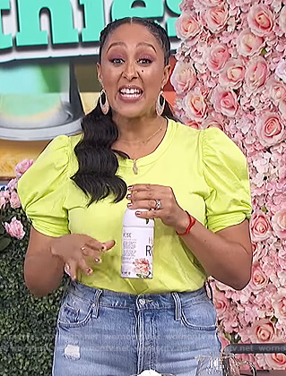 Tamera's yellow ruched sleeve tee on The Real
