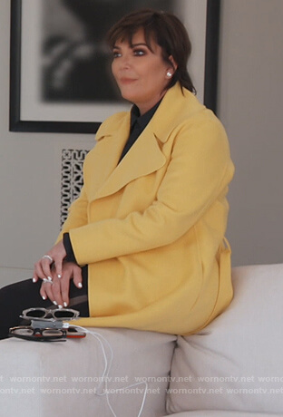 Kris's yellow wrap coat on Keeping Up with the Kardashians