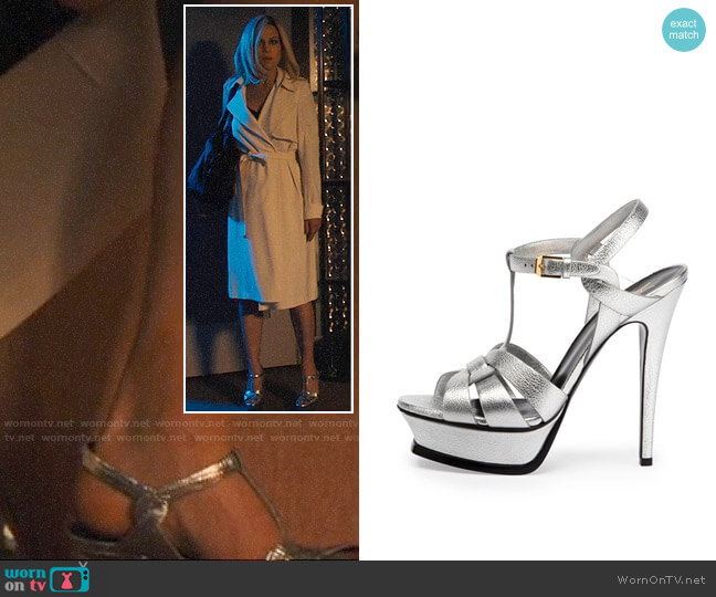 YSL Tribute Metallic Leather Platform Sandal worn by Daisy Kowalski (Carla Gugino) on Jett