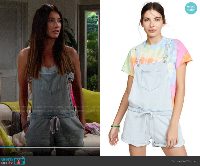 Z Supply Knit Denim Shortalls worn by Steffy Forrester (Jacqueline MacInnes Wood) on The Bold & the Beautiful