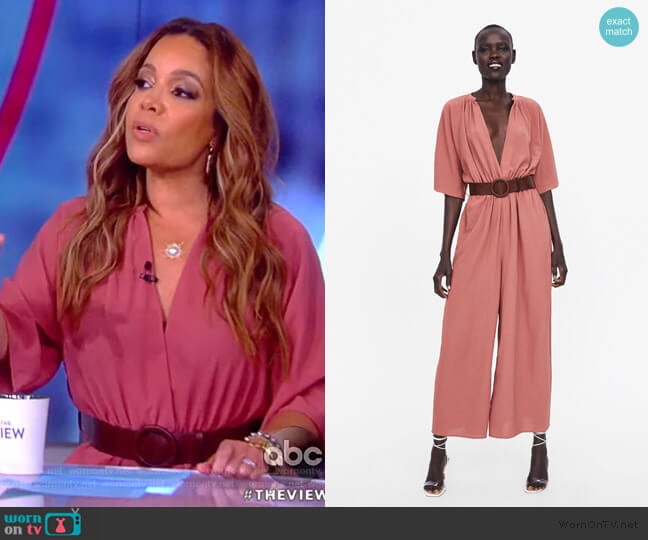Belted Wrap Jumpsuit by Zara worn by Sunny Hostin  on The View