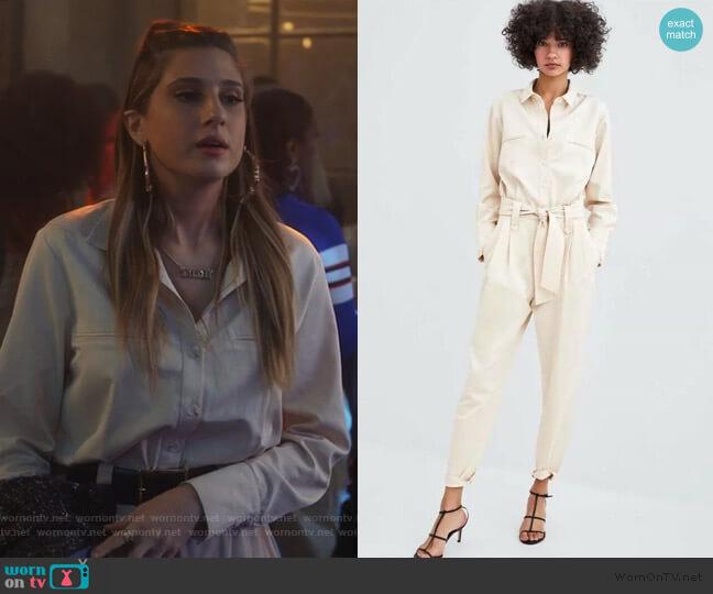 Belted Jumpsuit by Zara worn by Nomi Segal (Emily Arlook) on Grown-ish