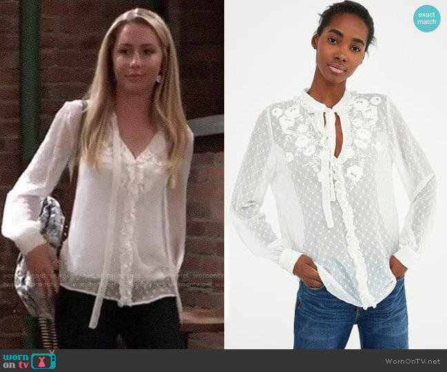 Zara Embroidered Plumetis Blouse worn by Josslyn Jacks (Eden McCoy) on General Hospital