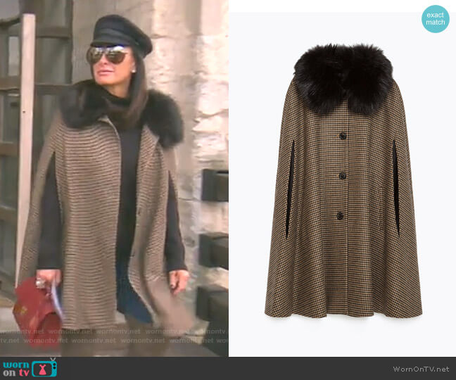 Houndstooth Cape by Zara worn by Kyle Richards  on The Real Housewives of Beverly Hills