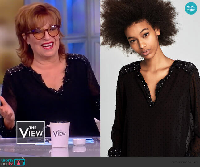 Mesh Embellished Top by Zara worn by Joy Behar  on The View
