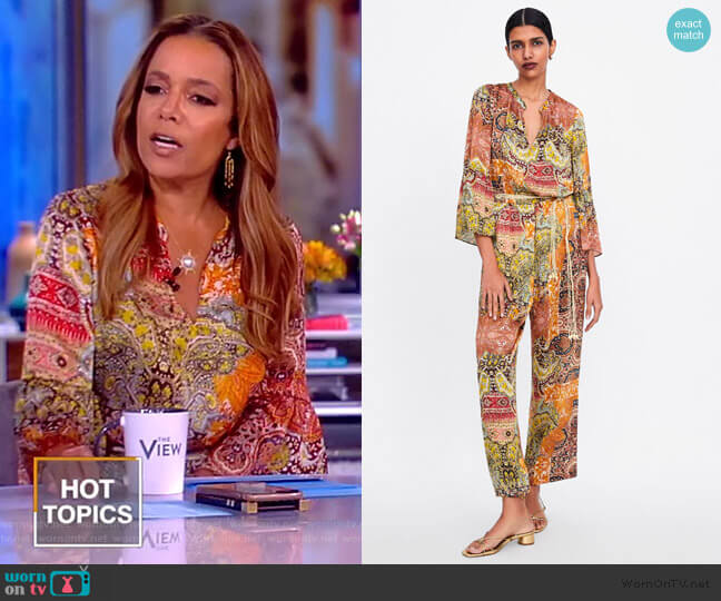 Printed Belted Jumpsuit by Zara worn by Sunny Hostin  on The View