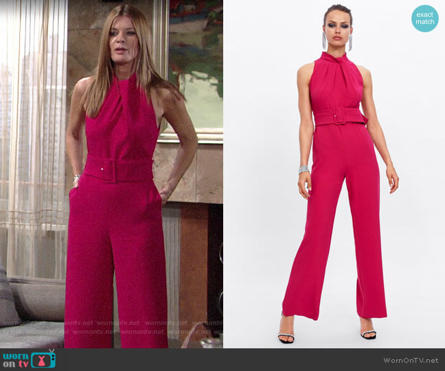 Zara Jumpsuit with Belt worn by Phyllis Summers (Michelle Stafford) on The Young & the Restless