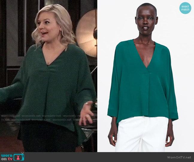 Zara Oversized Blouse worn by Maxie Jones (Kirsten Storms) on General Hospital