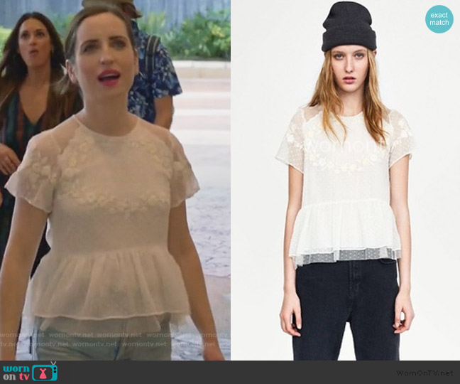 WornOnTV: Jen's white floral lace top on Life in Pieces