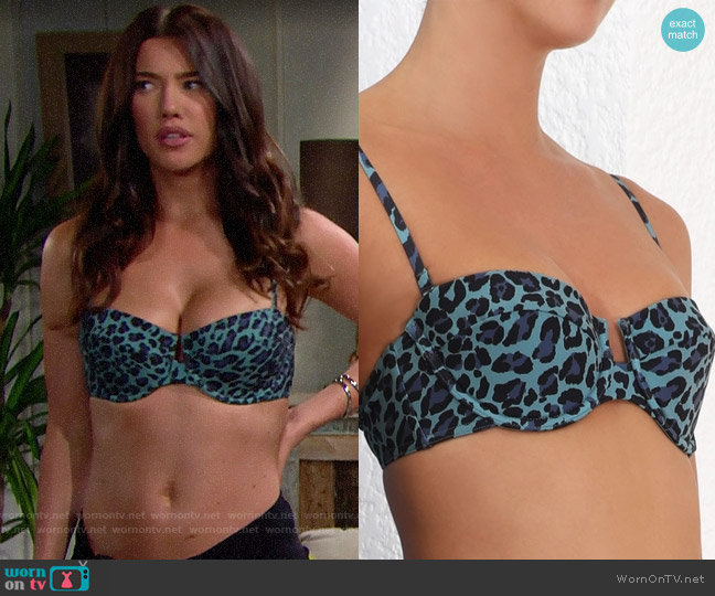 Zimmermann Sculpt Balconette Bikini in Teal Leopard worn by Steffy Forrester (Jacqueline MacInnes Wood) on The Bold & the Beautiful