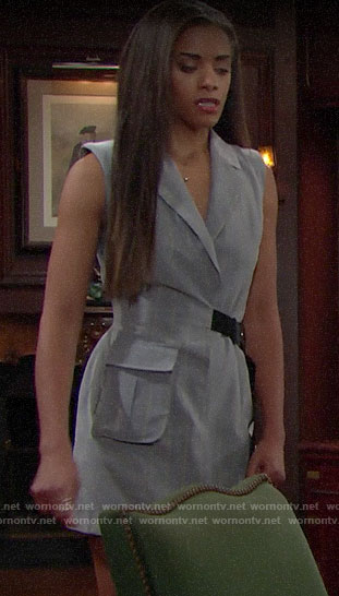 Zoe's grey pinstriped blazer dress on The Bold and the Beautiful