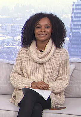 Zuri's cowl neck sweater on Live from E!