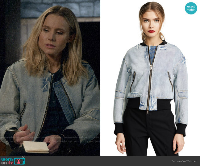 3.1 Phillip Lim Denim Bomber Jacket with Zip worn by Veronica Mars (Kristen Bell) on Veronica Mars