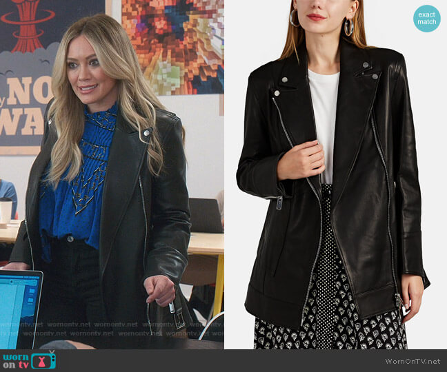 Leather Belted Moto Jacket by Akira Naka worn by Kelsey Peters (Hilary Duff) on Younger