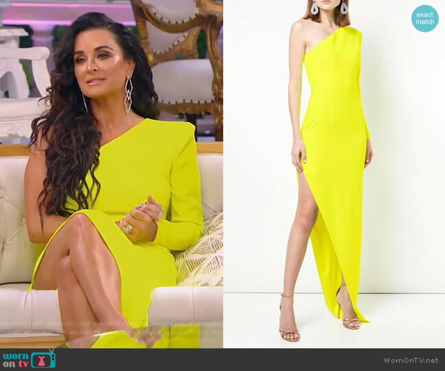 Structured One-Shoulder Gown by Alex Perry worn by Kyle Richards  on The Real Housewives of Beverly Hills