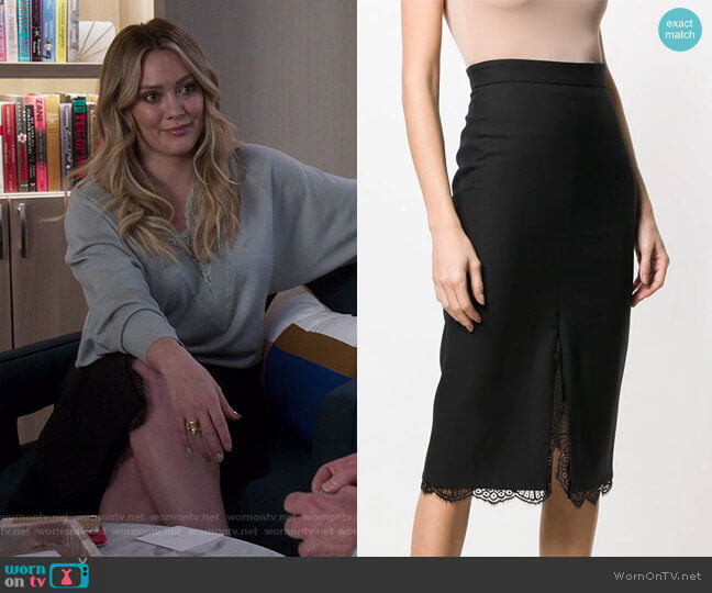 Lace Hem Pencil Skirt by Alexander McQueen worn by Kelsey Peters (Hilary Duff) on Younger