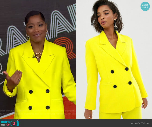 Double Breasted Mansy Jacket by Asos worn by Keke Palmer  on Good Morning America