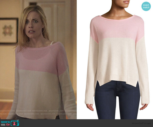 Cashmere Colorblocked Sweater by ATM Anthony Thomas Melillo worn by Kelly Anne Van Awken (Molly Burnett) on Queen of the South
