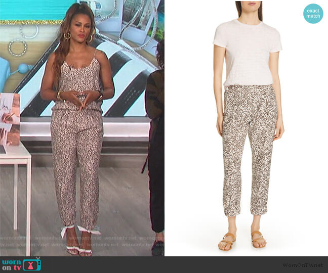 Lunar Leopard Print Silk Pants by ATM Anthony Thomas Melillo worn by Eve  on The Talk