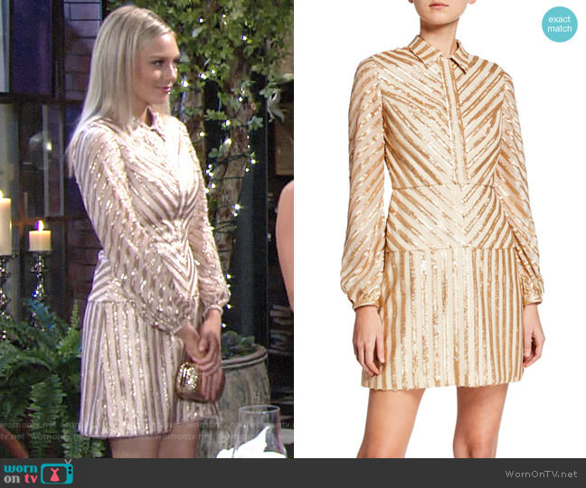 Aidan by Aidan Mattox Sequin Stripe Dress worn by Abby Newman (Melissa Ordway) on The Young & the Restless