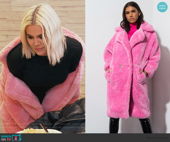 Tour Life Teddy Peacoat by Akira worn by Khloe Kardashian  on Keeping Up with the Kardashians