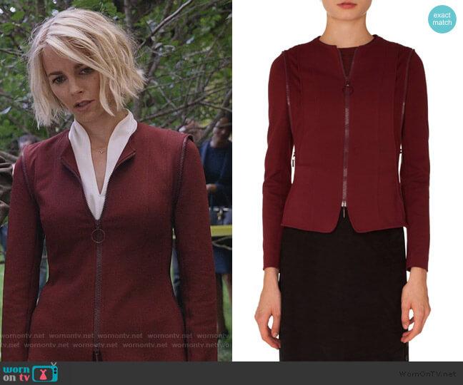 Zip Detail Jersey Jacket by Akris Punto worn by Lizzie Needham (Bojana Novakovic) on Instinct