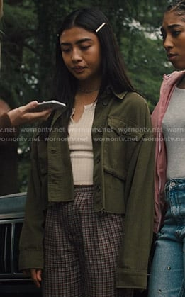 Alex's green cropped utility jacket on Light as a Feather