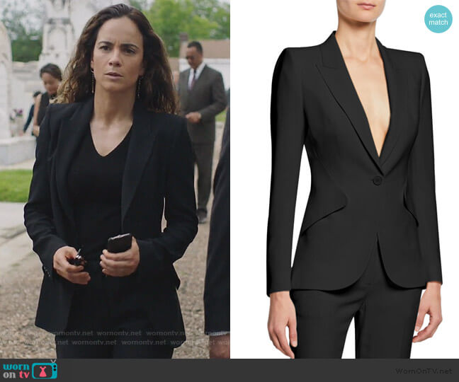 Classic Double-Breasted Suiting Blazer by Alexander McQueen worn by Teresa Mendoza (Alice Braga) on Queen of the South