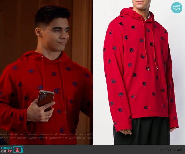 Swallow hoodie by Alexander McQueen worn by Vivek Shah (Jordan Buhat) on Grown-ish