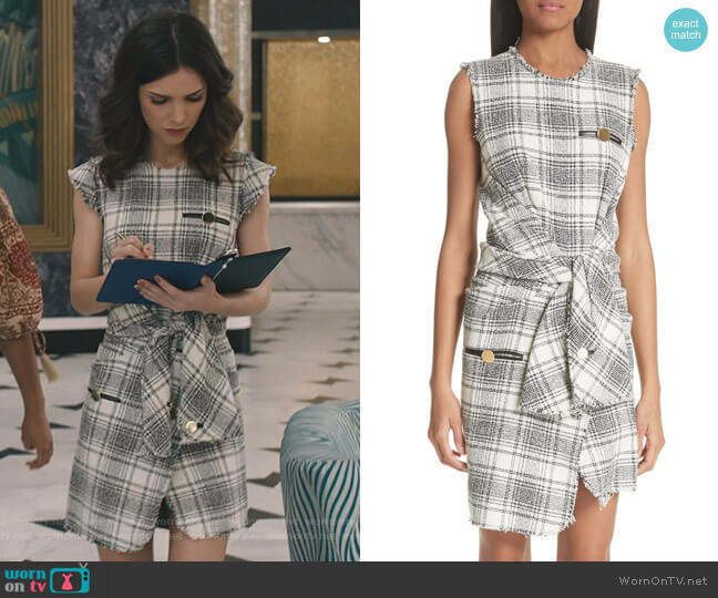 Tie Waist Tweed Dress by Alexander Wang worn by Alicia Mendoza (Denyse Tontz) on Grand Hotel