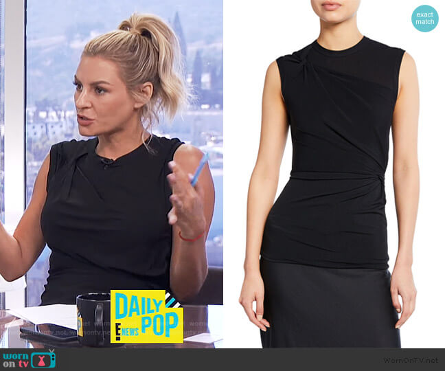 Twisted Crepe Jersey Top by T by Alexander Wang worn by Morgan Stewart  on E! News