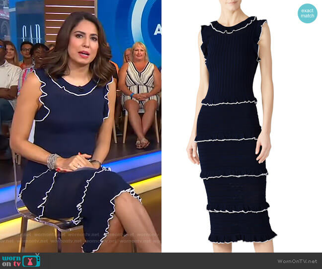 Ruffle Trim Sheath Dress by Alexia Admor worn by Cecilia Vega  on Good Morning America