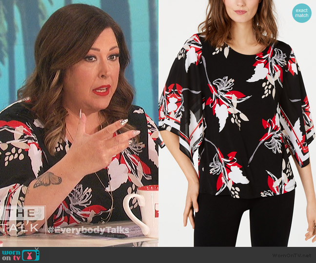 Printed Poncho-Sleeve Top by Alfani worn by Carnie Wilson on The Talk