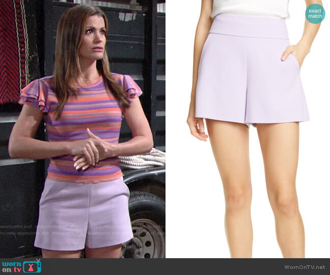 Alice + Olivia Donald Shorts worn by Chelsea Lawson (Melissa Claire Egan) on The Young & the Restless
