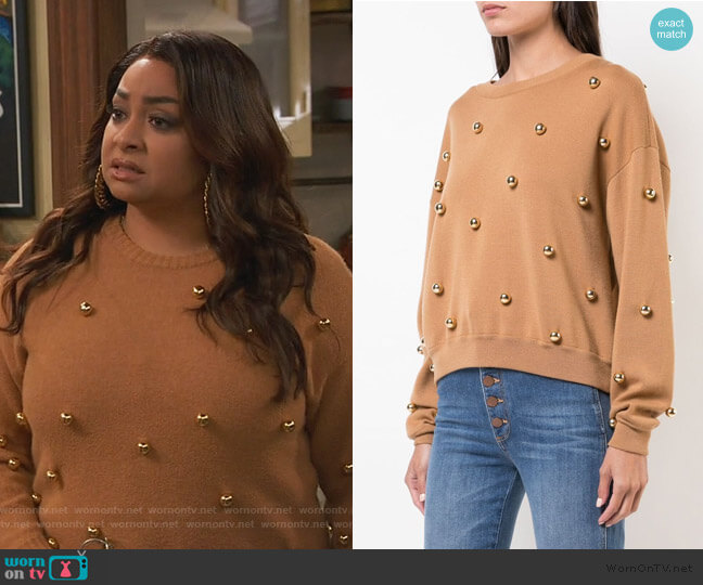 Gleeson Metal Ball Detail Wool Blend Sweater by Alice + Olivia worn by Raven Baxter (Raven-Symoné) on Ravens Home