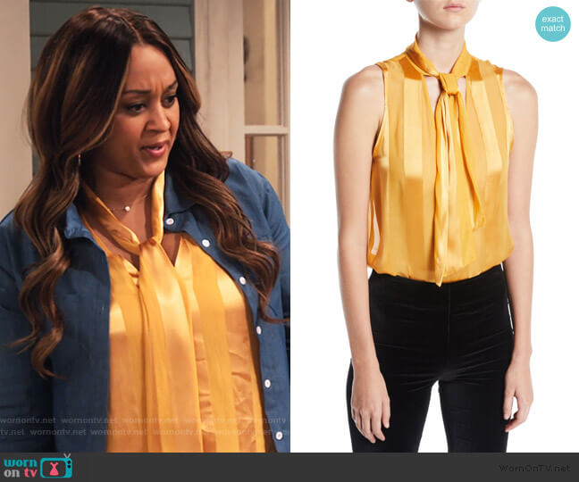 Gwenda Sleeveless Paneled Tie-Neck Blouse by Alice + Olivia worn by Cocoa McKellan (Tia Mowry-Hardrict) on Family Reunion