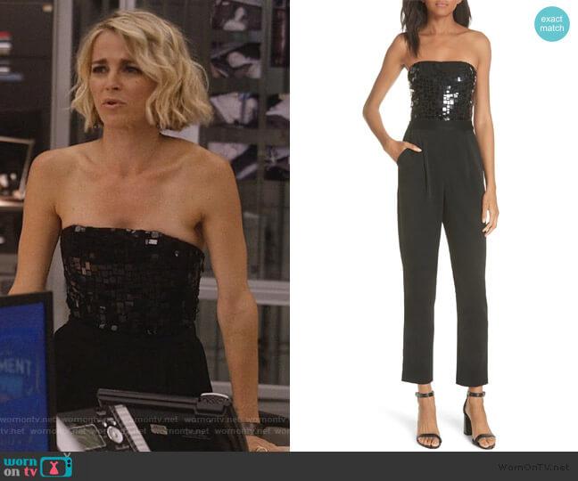 Jeri Embellished Strapless Jumpsuit by Alice + Olivia worn by Lizzie Needham (Bojana Novakovic) on Instinct
