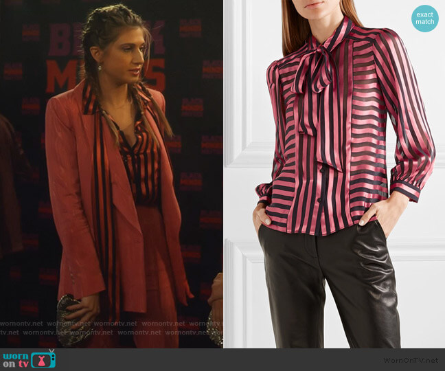 Willis pussy-bow striped satin Blouse by Alice + Olivia worn by Nomi Segal (Emily Arlook) on Grown-ish