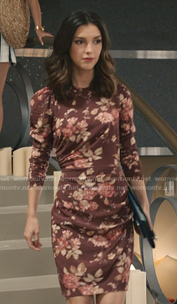 Alicia's brown floral gathered dress on Grand Hotel