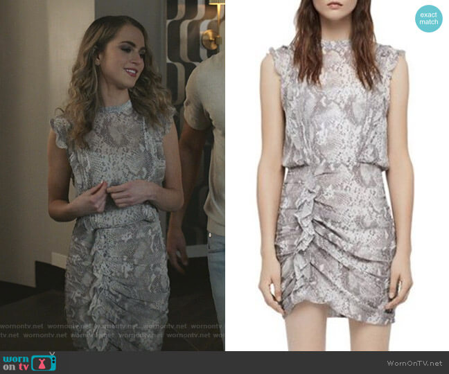 Hali Dress by All Saints worn by Anne Winters on Grand Hotel