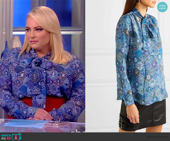 Visage pussy-bow printed silk blouse by Altuzarra worn by Meghan McCain  on The View