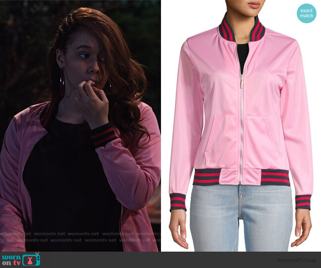 Contrast-Trimmed Bomber Jacket by American Stitch worn by Jade (Talia Jackson) on Family Reunion