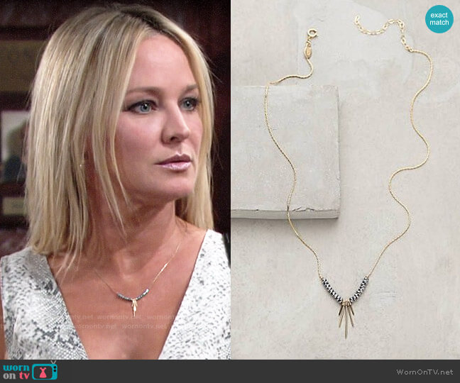 Anthropologie Zerene Necklace worn by Sharon Collins (Sharon Case) on The Young & the Restless